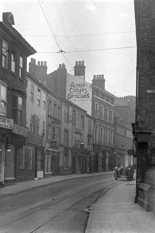 Micklegate in 1917, complete with tram line, the George Hotel and corset maker. Photograph: YAYAS, the Evelyn Collection