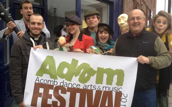 Ned Lunn, left, and Keith Myers, right, with ADAM Festival supporters