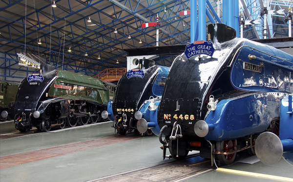 A4 Pacific line-up, left to right: Union of South Africa, Bittern, Mallard and Dominion of Canada (just in view)