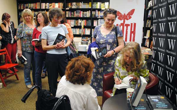 Helen signing copies of her book, To Catch A Rabbit, at the launch in Waterstones York