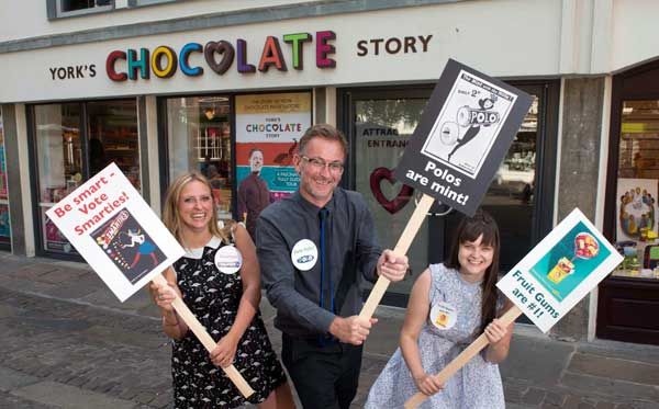 Will the mint with the hole win the poll, or do Smarties have the answer? York Chocolate Story staff campaign for their favourites