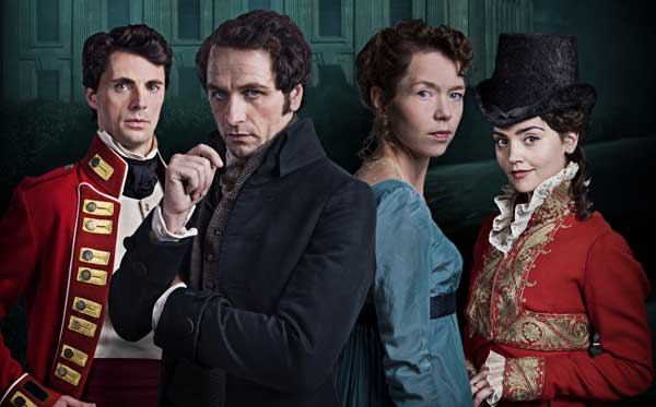 Pemberley people: Wickham (Matthew Goode), Darcy (Matthew Rhys), Elizabeth Darcy (Anna Maxwell-Martin), Lydia Wickham (Jenna-Louise Coleman). Photograph: Robert Viglasky for the BBC / Origin