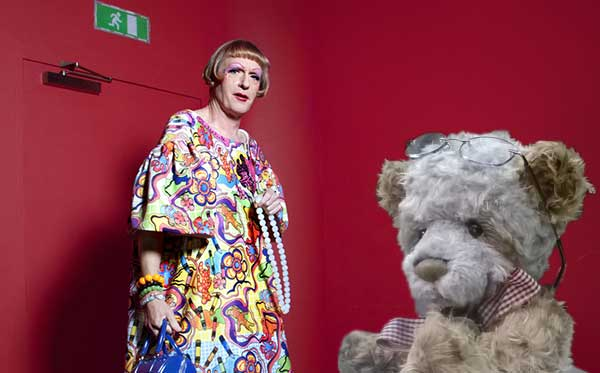 Perry and Padmin, together at last: artist Grayson Perry (photograph: BBC) and Padmin Bear