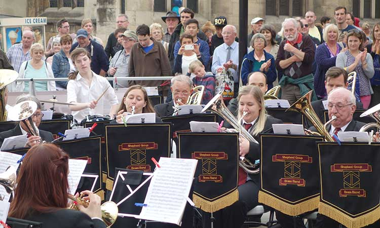 The entertainers – Shepherd Group Concert Brass Band in action for Brassed On York 2013