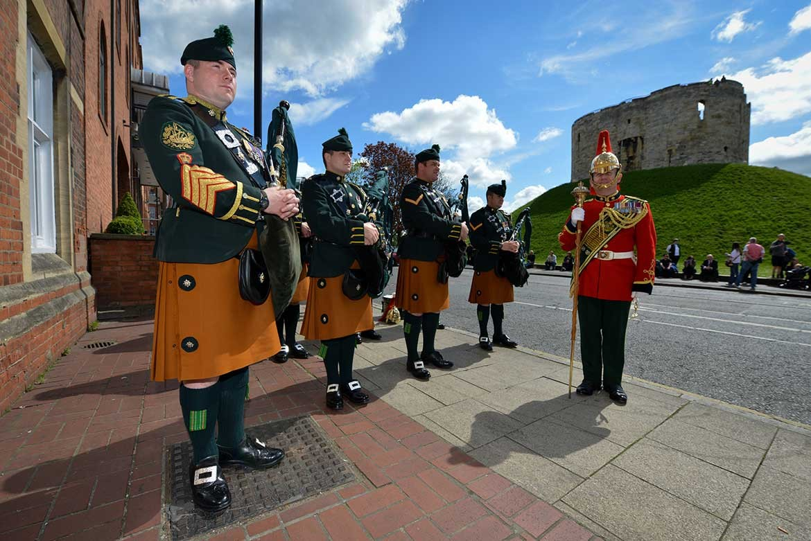 The pipes of the Royal Dragoon Guards ready to welcome the Duke at the York Army Museum. Photograph: Sgt Si Longworth / MOD
