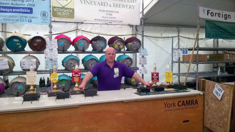 Ready to serve… The festival marquee ahead of opening in 2015. Photograph: York Beer Festival on Twitter