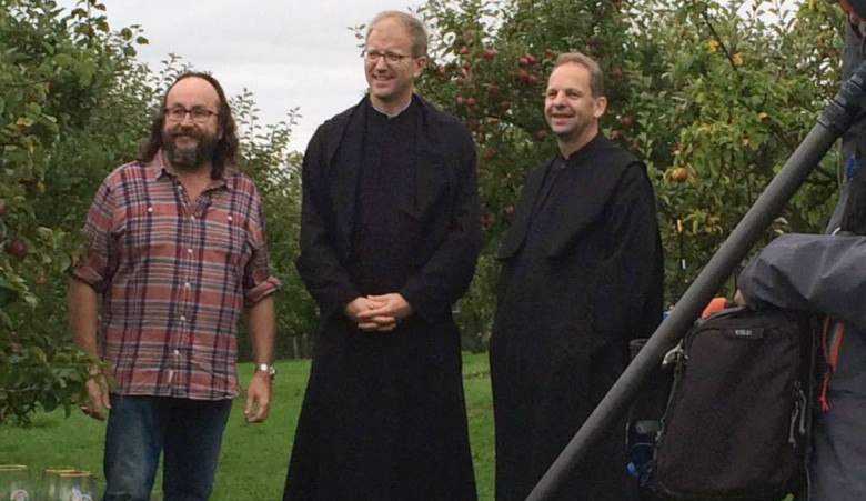 Dave filming an episode at Ampleforth Abbey. Photograph © Ampleforth Abbey on Twitter