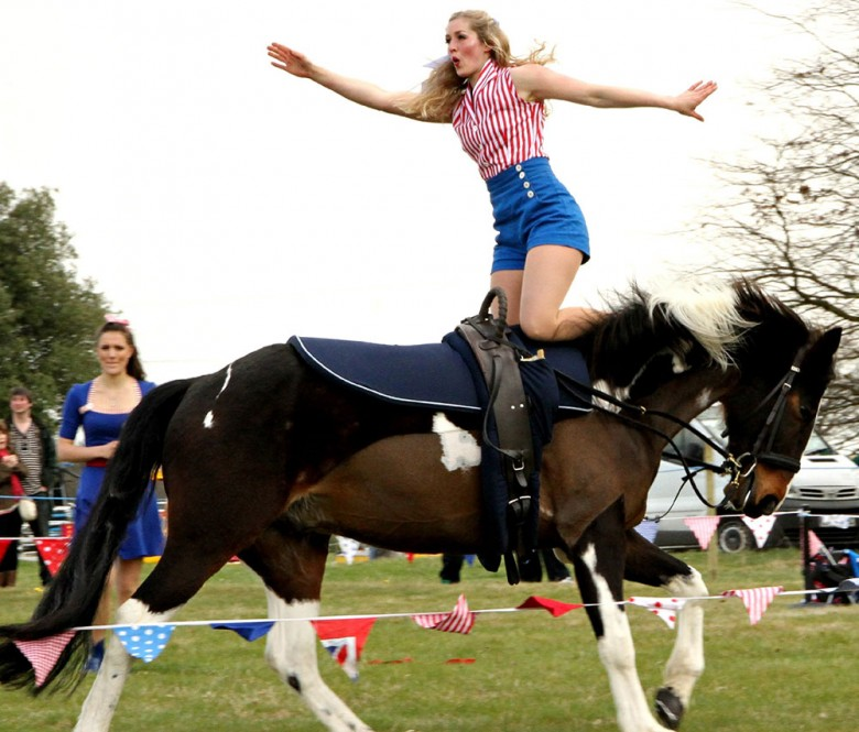 Rosie and her horse entertain the crowd