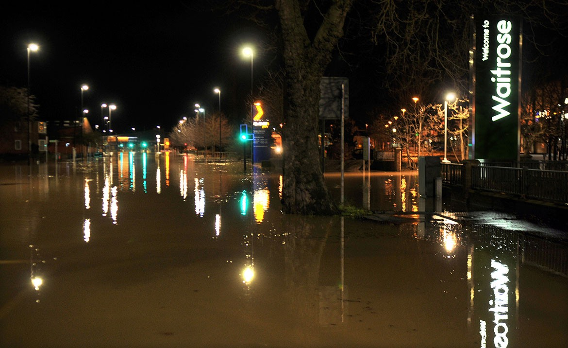 Foss Islands Road underwater, with Waitrose to the right. Photograph: Nigel Holland