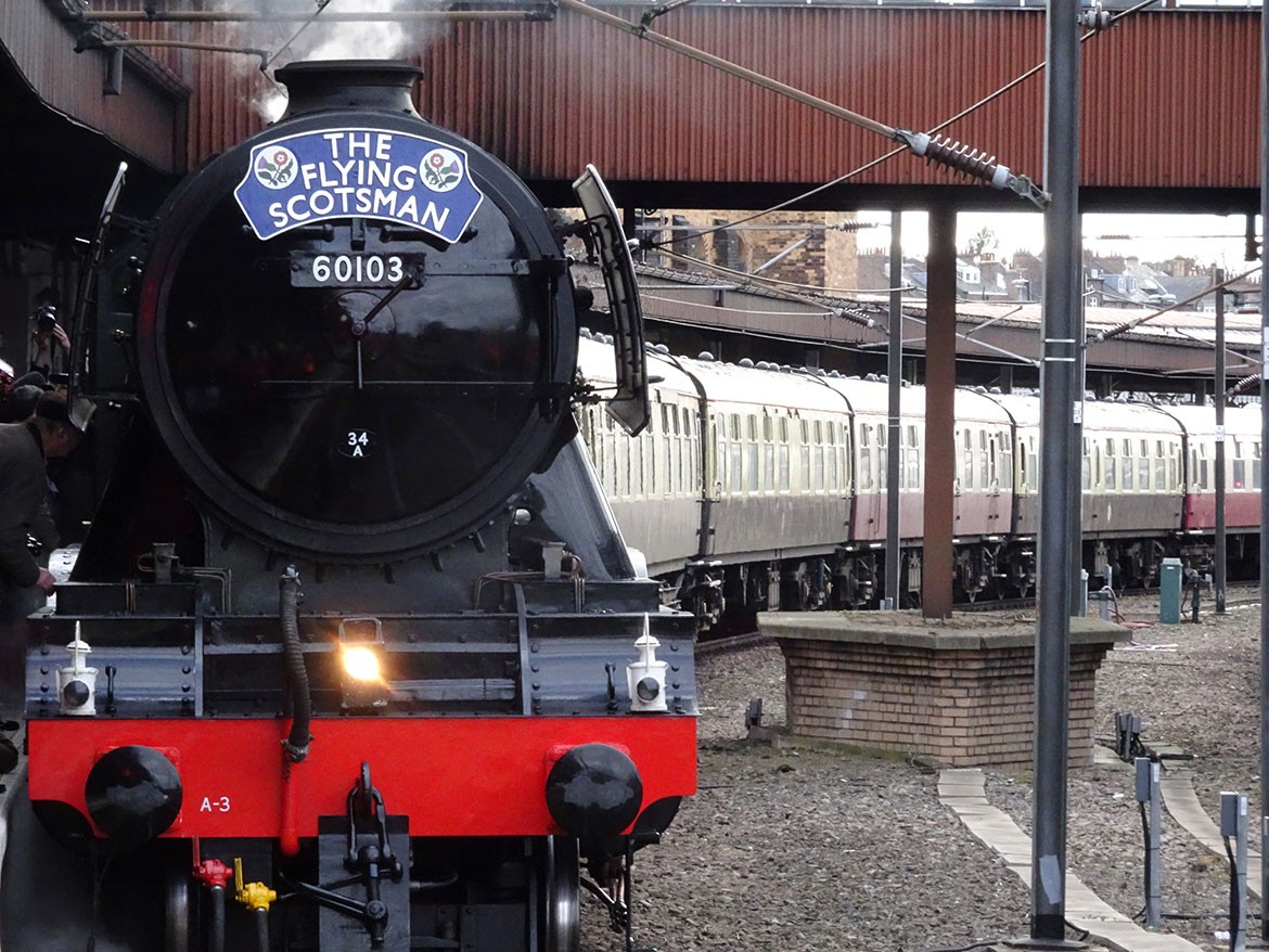 Home at last: Flying Scotsman completes its inaugural journey at York Railway Station. Photograph: Richard McDougall
