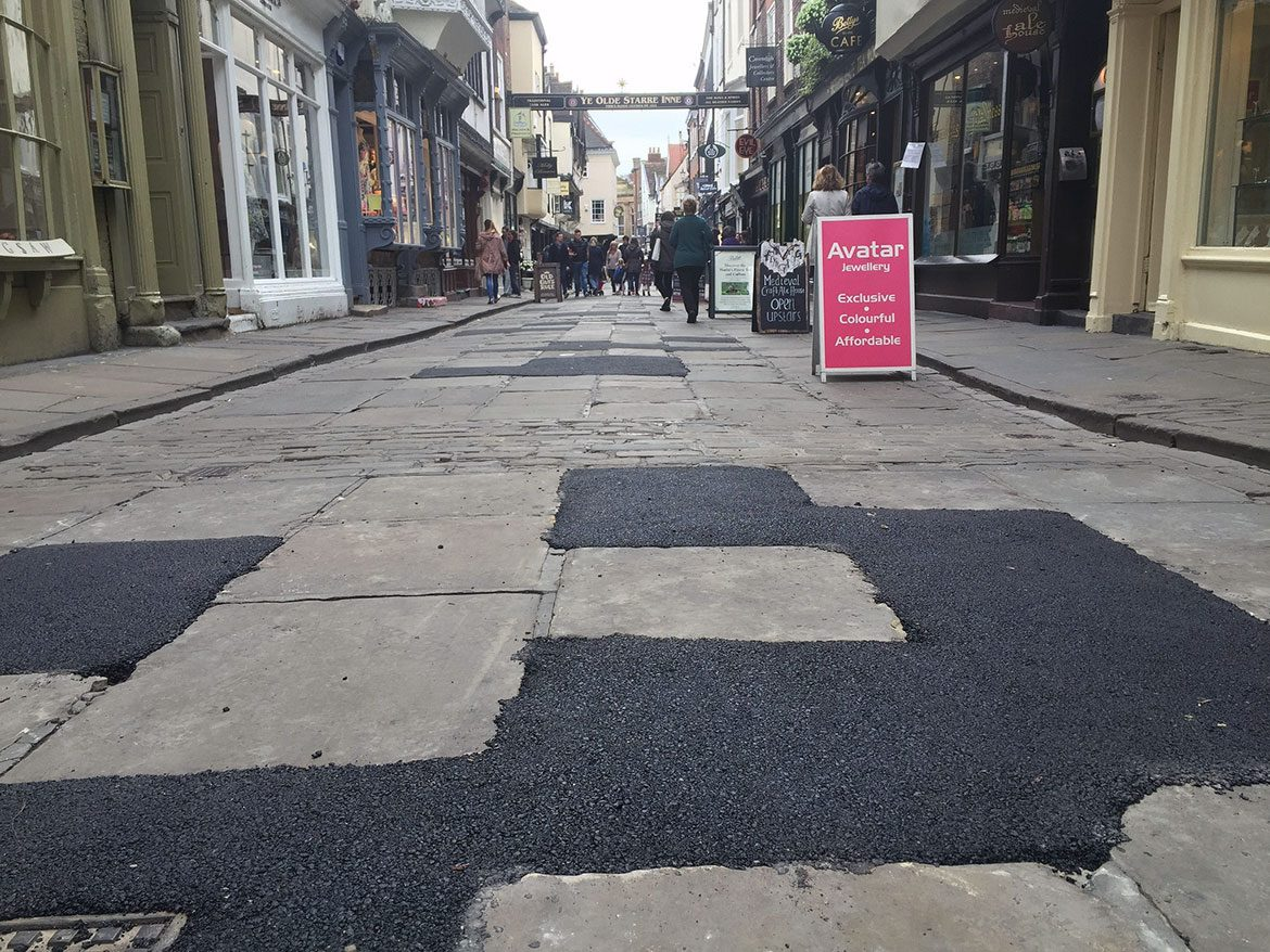 Not pretty… the temporary Tarmac repairs on Stonegate. Photograph: Richard McDougall