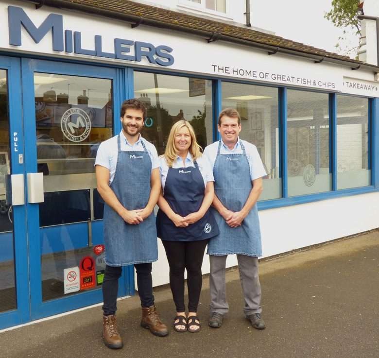 A chip off the old block: (L-R) Nick, Lesley and David Miller