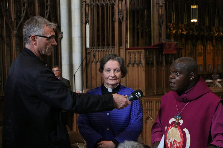 Jules Bellerby of BBC Radio York, Dean Faull and Archbishop Sentamu at the press conference