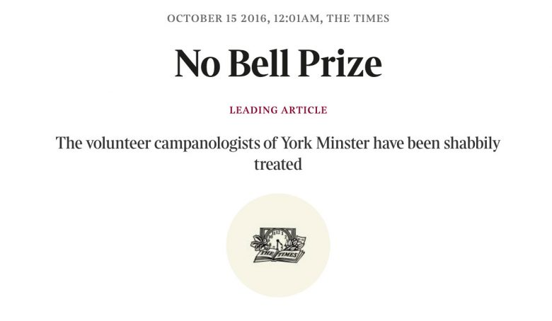 The headline over the leading article in The Times