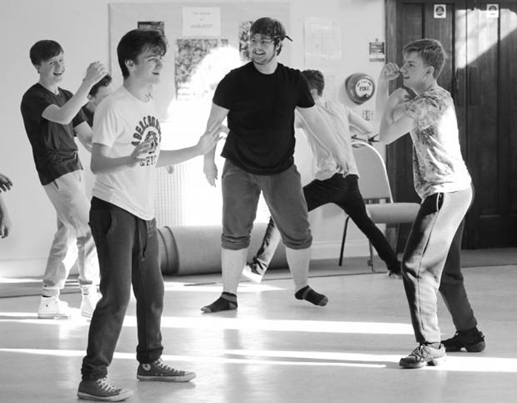 West Side Story in rehearsal. L-R: Baby John (Edward Atkin), Bernardo (Jack Porter), Riff (Finn East) and Action (Nathan Christy). Photograph: Steve Melvin