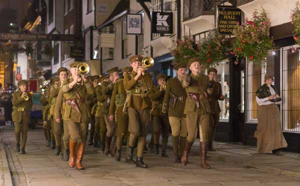 The streets of York echo to the sounds of the Great War for Blood + Chocolate. Photograph: Chris Mackins