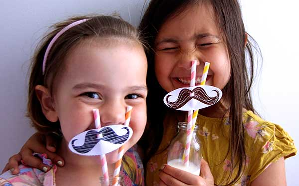 Asta and Alanna, daughters of Frances and her colleague Emily Schofield, have a tache-tastic time