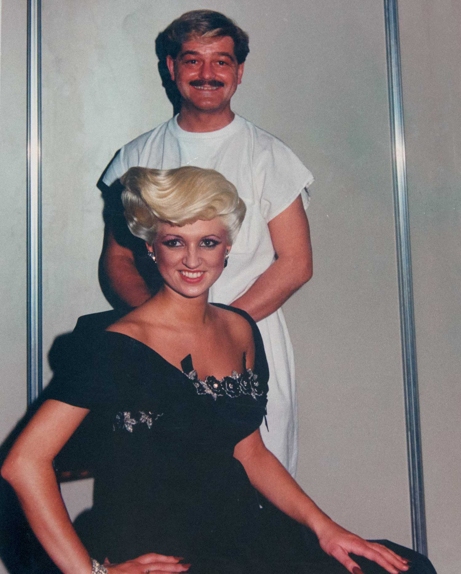 The finished look… Glen and model demonstrate an evening style at the world championships in Italy