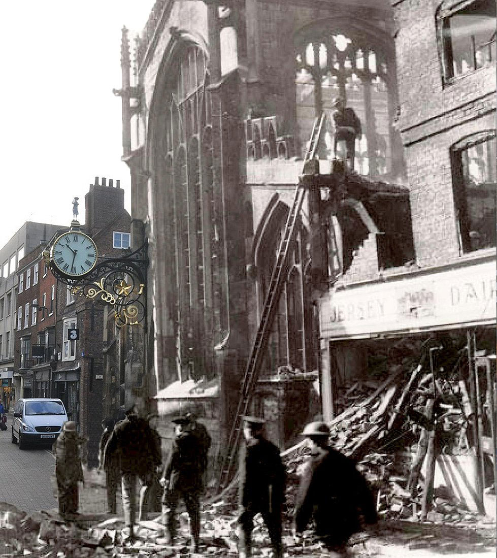 Coney Street at war and peace. Photograph: York Past And Present