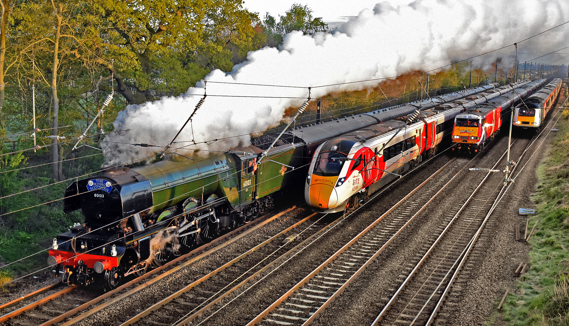 video and 16 pix the moment four trains made railway history near